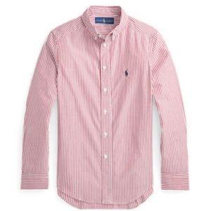 Ralph Lauren Boys Size 14 Wine Stripe Cotton Shirt